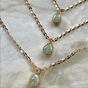 Green zircon, 22 K plated gold necklace